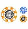 processor casino chip mosaic icon circles vector image vector image