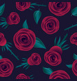 red roses seamless pattern flowers leaves vector image