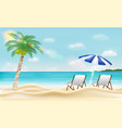 relax beach chair on a sea sand beach vector image vector image