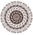 round ornamental pattern with animal african style vector image