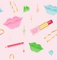 seamless lip makeup pattern vector image vector image