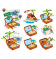 set of beach in the travel luggage vector image