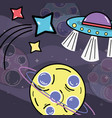 shooting stars ufos and planet in the galaxy vector image vector image