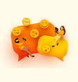 small people flying around chat bubbles and emoji vector image