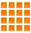 surgeons tools icons set orange vector image vector image