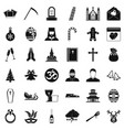 temple icons set simple style vector image vector image
