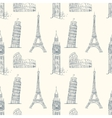 Vintage seamless pattern with sights of Europe vector image