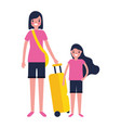 woman and girl suitcase travel vacations vector image