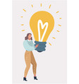 woman with near big bulb light vector image vector image