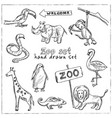 zoo hand drawn doodle set vector image