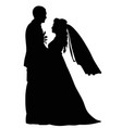 black-and-white contour image of the dancing bride vector image