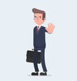 angry business man or strict boss standing and vector image