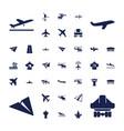 37 aircraft icons vector image vector image
