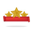 3d red ribbon and premium star with shadow vector image