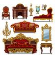 a set furniture red color for vintage interior vector image