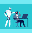 android and human robot kick away business person vector image