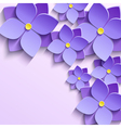 background with purple summer flowers violets vector image