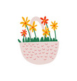 beautiful red and yellow spring flowers in basket vector image