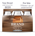 beer bottles in wooden box product packaging vector image