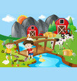 boys digging hole in the farm vector image vector image
