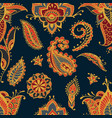 bright seamless pattern with paisley mehndi vector image vector image