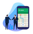 business man hand shake with point on smartphone vector image