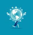 business person holding globe concept people vector image