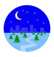 city metropolis in the winter snow night vector image