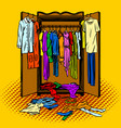 clothes in a wardrobe comic book style vector image