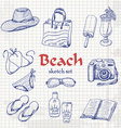 collection of summer elements in sketch style on vector image vector image