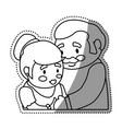 couple elder adults hug vector image