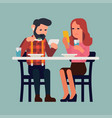 couple with phones having a meal vector image