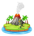 dinosaur and volcano eruption vector image
