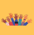 diverse young people friend hands raised together vector image