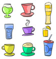 doodle of drink various set vector image vector image