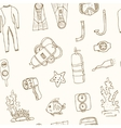Doodle seamless pattern of diving tools Vintage vector image vector image
