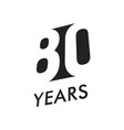eighty years emblem template anniversary vector image vector image