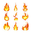 fire light effect flames set design icon vector image