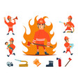 firemen and equipments fireman profession working vector image vector image