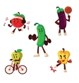 Fruits and vegetables doing sport exercises vector image vector image