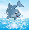 happy cute smiling jumping cartoon dolphin vector image vector image