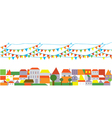 Holidays city with banner of flags vector image vector image