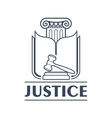 Judge hammer or gavel in front of book and column vector image vector image