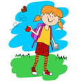 Little girl with backpack and apple vector image vector image