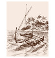 marina drawing fishing boat on shore vector image vector image
