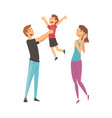 mother father and son having good time together vector image vector image