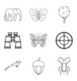 natural philosopher icons set outline style vector image vector image