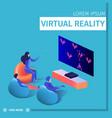 people sit around tv set playing video game vector image