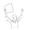 protest bald woman with blank sign board is vector image vector image
