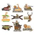 safari hunting club african animals hunt icons vector image vector image